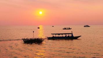 Beautiful sunset of Tonle Sap lake in Siem Reap, Cambodia. photo