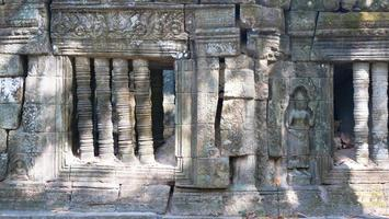 Stone carving at Ta Prohm Temple, Siem Reap Cambodia. photo