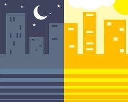 Night and Day Simple Skyscraper City Landscape Scene vector