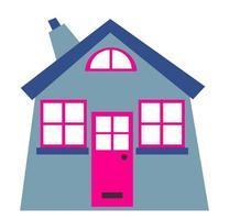 Simple Little Grey Cosy Cottage Graphic vector
