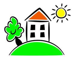 Simple House on a Hill Country Cottage Graphic vector