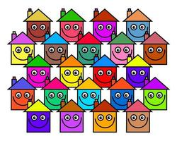 Colorful Happy Smiling Village Housing Community vector