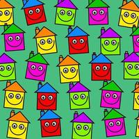 Colorful Happy Smiling Village Housing Community Wallpaper vector