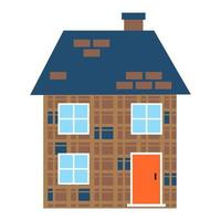 Simple Flat Color Graphic House Icon vector