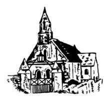 Ancient Parish Church with Spire Sketch vector