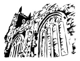 Ancient Parish Church Detail with Arch Windows vector
