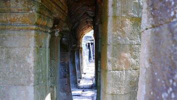 Stone corridor at Banteay Kdei in Siem Reap, Cambodia photo