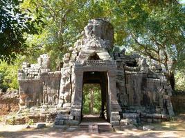 Stone door gate ruin at Banteay Kdei in Siem Reap, Cambodia photo