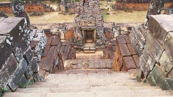 Stone ladder at buddhist khmer ruin of Pre Rup, Siem Reap Cambodia. photo