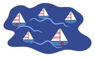 Simple Nautical Sailing Boats Racing on the Sea Waves vector