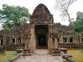 demolished stone architecture at Preah Khan temple, Siem Reap Cambodia photo