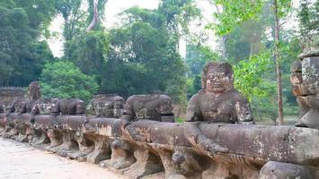 Stone rock sculpture at Preah Khan temple Angkor Wat complex Siem Reap photo