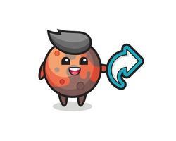 cute mars hold social media share symbol vector