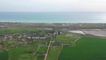Aerial view of beautiful salt lake, Sasyk - Sivash in Crimea. video