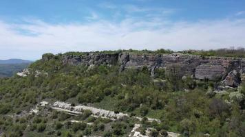 Aerial view on medieval fortress Mangup Kale, Crimea video