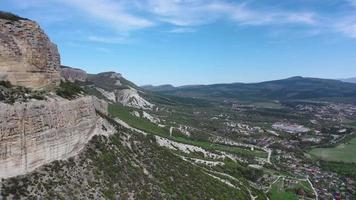 Aerial view of Belbek canyon in Crimea. video