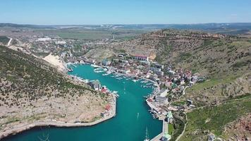Aerial view of Balaklavsky bay and port in Crimea. video