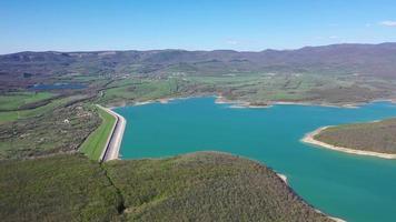 Aerial view of Chernorechenskoye Reservoir of Crimea. video
