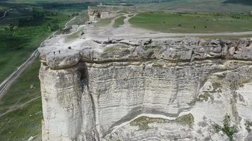 Aerial view of rocky mountain White Rock or Ak-Kaya, Crimea. video