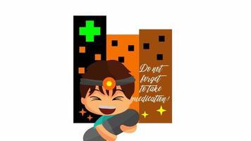 Animated Illustration of Doctor character Hug medicine video
