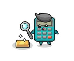 calculator character is checking the authenticity of the gold bullion vector