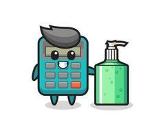 cute calculator cartoon with hand sanitizer vector