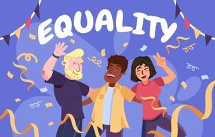 respeto y felicidad igualdad vector