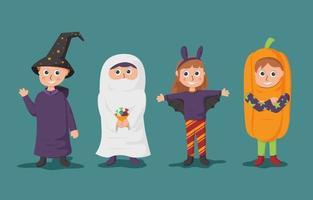 Kids Wear Halloween Costume Party vector