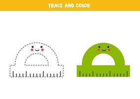 Trace and color cute kawaii protractor. Worksheet for kids. vector