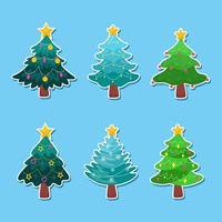Cute Christmas Tree Sticker Set vector