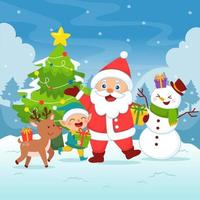 Santa is Here with Friends vector