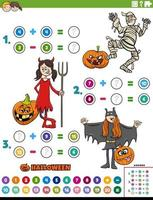 math addition and subtraction task with children on Halloween vector