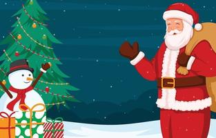 Santa Claus With Christmas Tree and Snowman vector
