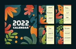 Calendar 2022 Floral Concept vector