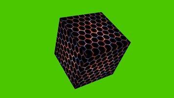 couverture et protection d'animation laser cube et hexagone et bleu rouge video