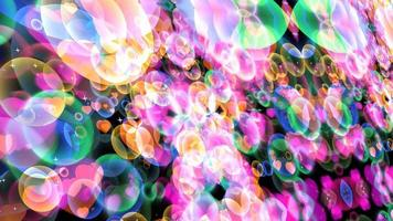 Zoom in rainbow bubbles with dancing hearts floating with white star video