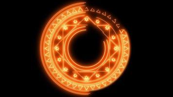 cercle de flamme magique énergie puissante multi élément feu objet abstrait video