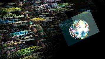 Quantum futuristic technology computer with digital cube waveform video