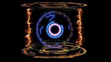 Anneau d'énergie bleu cercle magique dans la flamme de la capsule de laboratoire numérique video