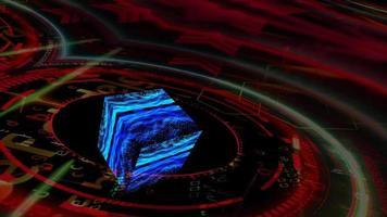 Quantum futuristic computer with cube reflection waveform oscillation video