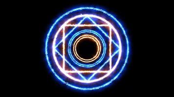 cercle de flamme magique puissante énergie bleue coup de foudre objet abstrait video