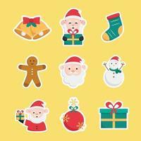Sticker Set with Santa Claus Element vector