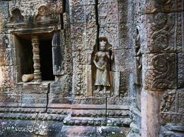 Stone carving at Ta Som temple, Siem Reap Cambodia. photo