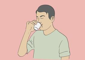 A man drinking coffee from a small glass. Hand drawn style vector