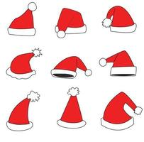 Different Shape of Santa Clause Hats vector
