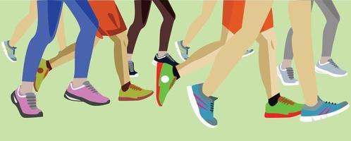 Group of feet marathon runners vector