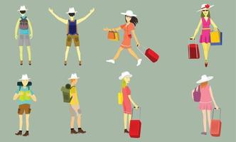 People going travel with luggage and backpack. vector