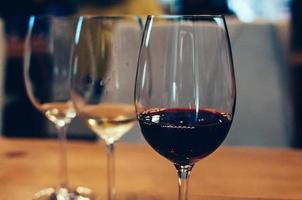 three glasses with wine for tasting photo