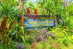 Direction sign to Wang Sao Thong Waterfall Koh Samui Thailand. photo