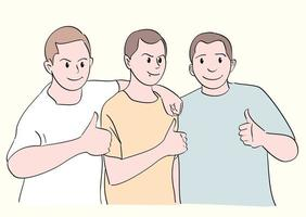 Three men giving a thumbs-up. vector